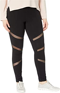 Plus Size Mesh Insert Cotton Leggings