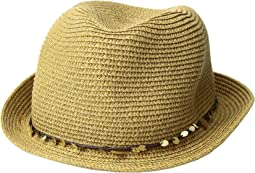 Paper Braid Fedora with Sequins Trim