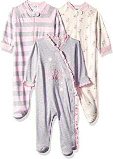 Baby Girls' 3-Pack Organic Sleep 'N Play