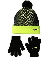 Nike Kids Graphic Pom Beanie & Gloves Set (Little Kids)