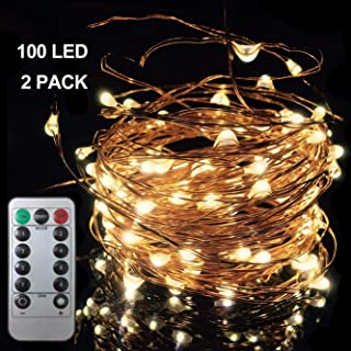 2 Pack 100 LED 33FT/10m Starry Fairy String Light, 8 Lighting Modes Waterproof Decorative Copper Wire Lights, Remote Control Lights for Indoor Bedroom Wedding Party Window, USB Interface, Warm White