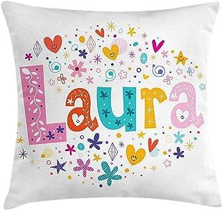 HCKZ Funda de cojín Laura Throw Pillow, Nombre de niña con Estilo Vintage Doodle Ilustración Colorida de Flores y Estrellas, Funda de Almohada Decorativa Cuadrada, 18 x 18 Pulgadas, Multicolor