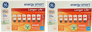 Set of 12 GE Lighting 68510 Energy Smart CFL Bulbs - 10-Watt (40-Watt Replacement) - 11 Years of Life - 580 Lumen - Soft White with Medium Base