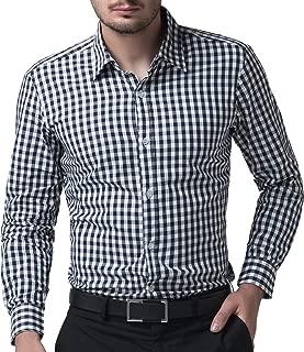 PAUL JONES メンズ 千鳥格子 カジュアル 上質 スリムフィット チェック柄 コットン 長袖シャツ