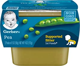 Gerber 1st Foods, Pea Pureed Baby Food, 2 Ounce Tubs, 2 Count (Pack of 8)
