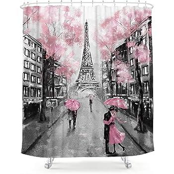 LIGHTINHOME Oil Painting Paris Shower Curtain European City Landscape France Eiffel Tower Modern Couple Black Pink Fabric Waterproof Bathroom Home Decor Set 72x72 Inch 12 Plastic Hooks