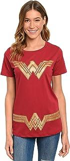 تي شيرت نسائي من DC Comics Wonder Woman - أحمر غامق - طباعة رسومات زي