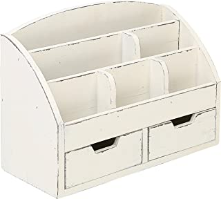 (Whitewashed) - MyGift Vintage White Wood Desk Organiser/6 Compartment, 2 Drawer Office Supplies Cabinet