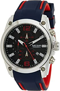 Megir Mens Quartz Watch, Chronograph Display and Silicone Strap - 2063G