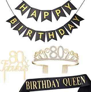 BABEYOND 80th Birthday Tiara and Sash 80th Cake Topper Happy Birthday Banner Satin Birthday Queen Sash 80th Birthday Party Supplies Rhinestone 80th Princess Crown (Set-2)