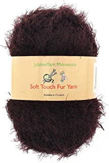 JubileeYarn 100g Soft Touch Fuzzy Fur Yarn, Brown 2 Skeins