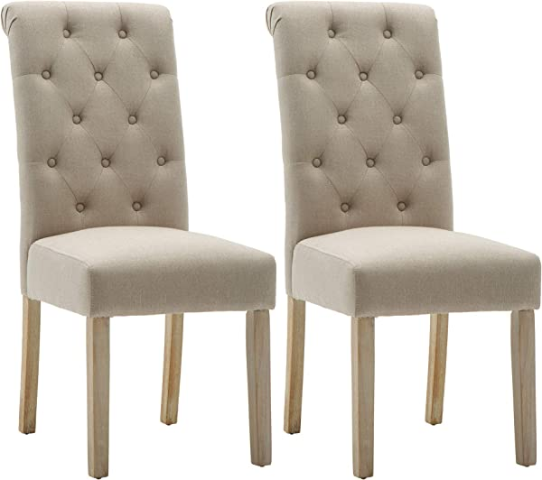 NOBPEINT Fabric Upholstered Dining Chair Solid Wood Legs Tan Set Of 2