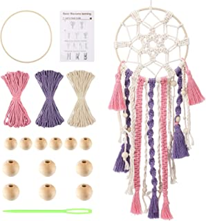 Syhood DIY Macrame Cord Kit Handmade Dream Catcher Craft Kit for Adults Teen Home Room Wall Hanging Decor Includes Dream C...