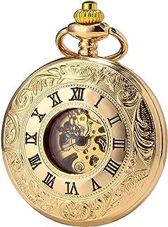 SEWOR Business Double Open Skeleton Pocket Watch Mechanical Hand Wind Movement Full Hunter Gift