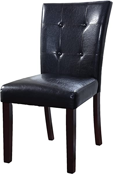 Best Master Furniture 611 Upholstered Tufted Faux Leather Dining Side Chair Set Of 2 Black