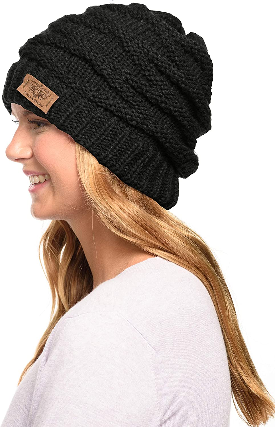 ANGELA WILLIAM Winter Warm Free shipping on posting reviews Thick 1 year warranty Knit Bean Skull Cable Slouchy