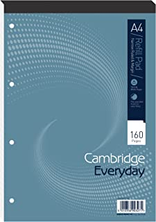 Cambridge A4 Card Cover Headbound Refill Pad Narrow Ruled With Margin 160 Page, 5 Refill Pads
