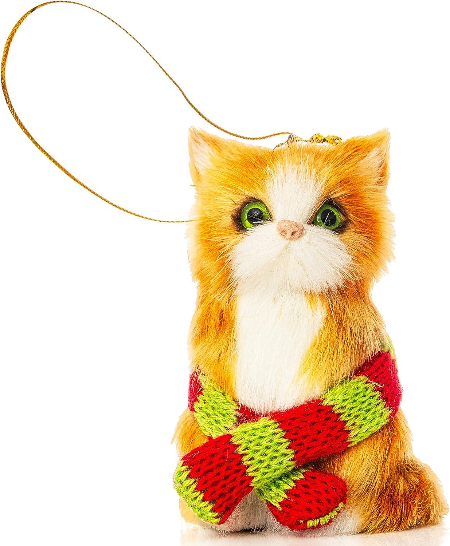 Ornativity Christmas Mini Cat Ornament - Furry Orange Kitten with Scarf Holiday Tree Hanging Decoration