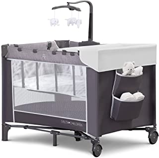 Delta Children LX Deluxe Portable Baby Play Yard With Removable Bassinet and Changing Table, Eclipse