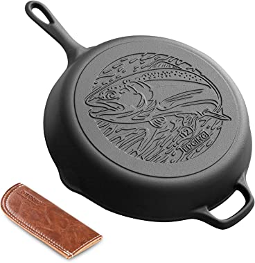 "EDGING CASTING 12"" Fish Pattern Rust Resistance Cast Iron Skillet include anti scald holster"