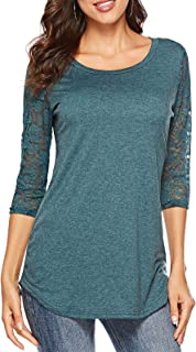 Women's 3/4 Lace Sleeve Round Neck T-Shirt Casual Blouses Tunics Tops