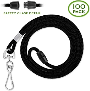 Claev Detachable Safety Bulk Lanyards (Black, 36 Inch, 100 Pack) Perfect for Schools and Work, Helps Prevent Injuries