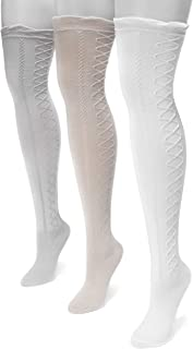 Muk Luks Women's 23'' Lace Texture Knee High Socks