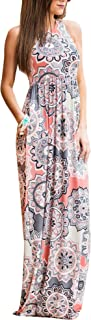 ZZER Women's Sleeveless Floral Racerback Loose Swing Casual Tunic Beach Long Maxi Dresses with Pockets