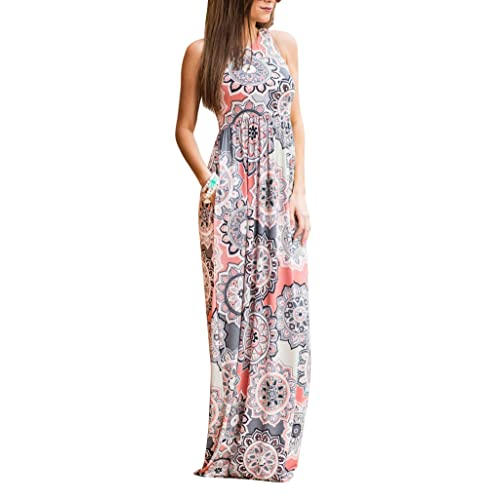 7a097e8fea29 ZZER Women s Sleeveless Floral Racerback Loose Swing Casual Tunic Beach Long  Maxi Dresses with Pockets