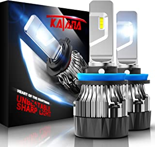 KATANA H11 LED Headlight Bulbs w/Mini Design,4700Lux 10000LM 6500K Cool White CREE Chips H8 H9 All-in-One Conversion Kit