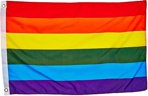 质量标准标志彩虹聚酯国旗月按月