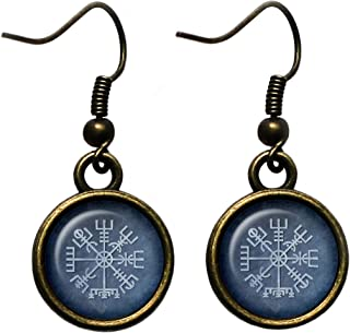 Viking Runes Vegvisir Viking Compass Antique Bronze Earrings