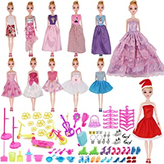 EuTengHao 90Pcs Doll Clothes and Accessories for Barbie Dolls Set Include 1 Christmas Doll Clothes,1 Handmade Doll Wedding Dress,10 Different Doll Grown Outfits for Barbie Doll and 78 Doll Accessories