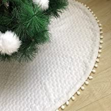 DegGod White Plush Christmas Tree Skirts with Pom Poms, 36 inches Luxury Faux Fur Xmas Tree Base Cover Mat with Heart Patt...