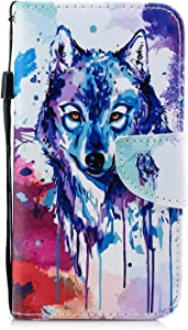 DENDICO iPhone X XS Case  Flip Wallet Leather Case Slim Book Cover for Apple iPhone X XS Magnetic Stand Protective Shockproof Case with Card Holder Wolf