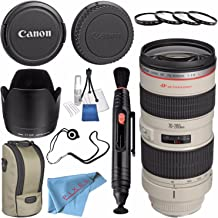 Canon EF 70-200mm f/2.8L USM Lens 2569A004 + 77mm Macro Close Up Kit + Lens Cleaning Kit + Lens Pen Cleaner + Fibercloth + Lens Capkeeper Bundle