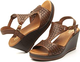 ISLA Women's Genuine Leather Pierced Wedge Sandals | 100701