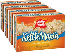 product image for JOLLY TIME KettleMania Microwave Kettle Corn | Sweet & Salty Glazed Gourmet Popcorn (3-Count Box, Pack of 4)