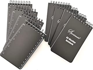 SPIRITMATE All-Weather Top Spiral Notebooks 3x5inches Hardcover Thick 120G Waterproof Stone Paper, Ruled line and Graph Grid in One Design Note Pads, 50Sheets/100PagesPer Each Notebook (8Pack)