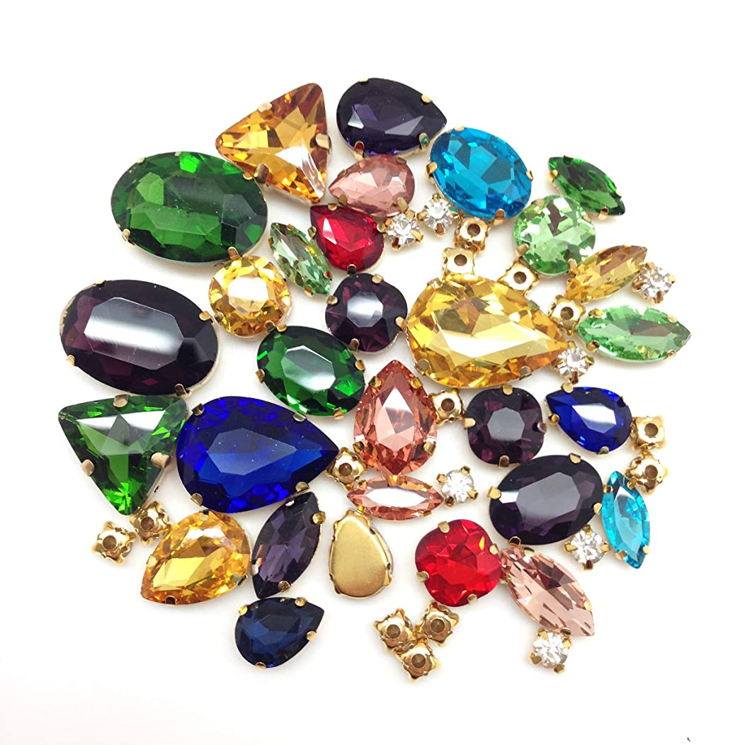 PEPPERLONELY 50PC Mixed Color Mixed Shape & Size Gold Flat Back Sew on Claw with Holes Crystal Rhinstones, 12 x 7mm ~ 25 x 13mm