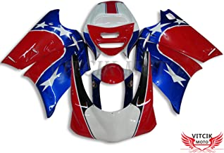 VITCIK (Fairing Kits Fit for Ducati 996 748 916 998 Biposto 1996 1997 1998 1999 2000 2001 2002 Plastic ABS Injection Mold Complete Motorcycle Body Aftermarket Bodywork Frame (Red & Blue) A017
