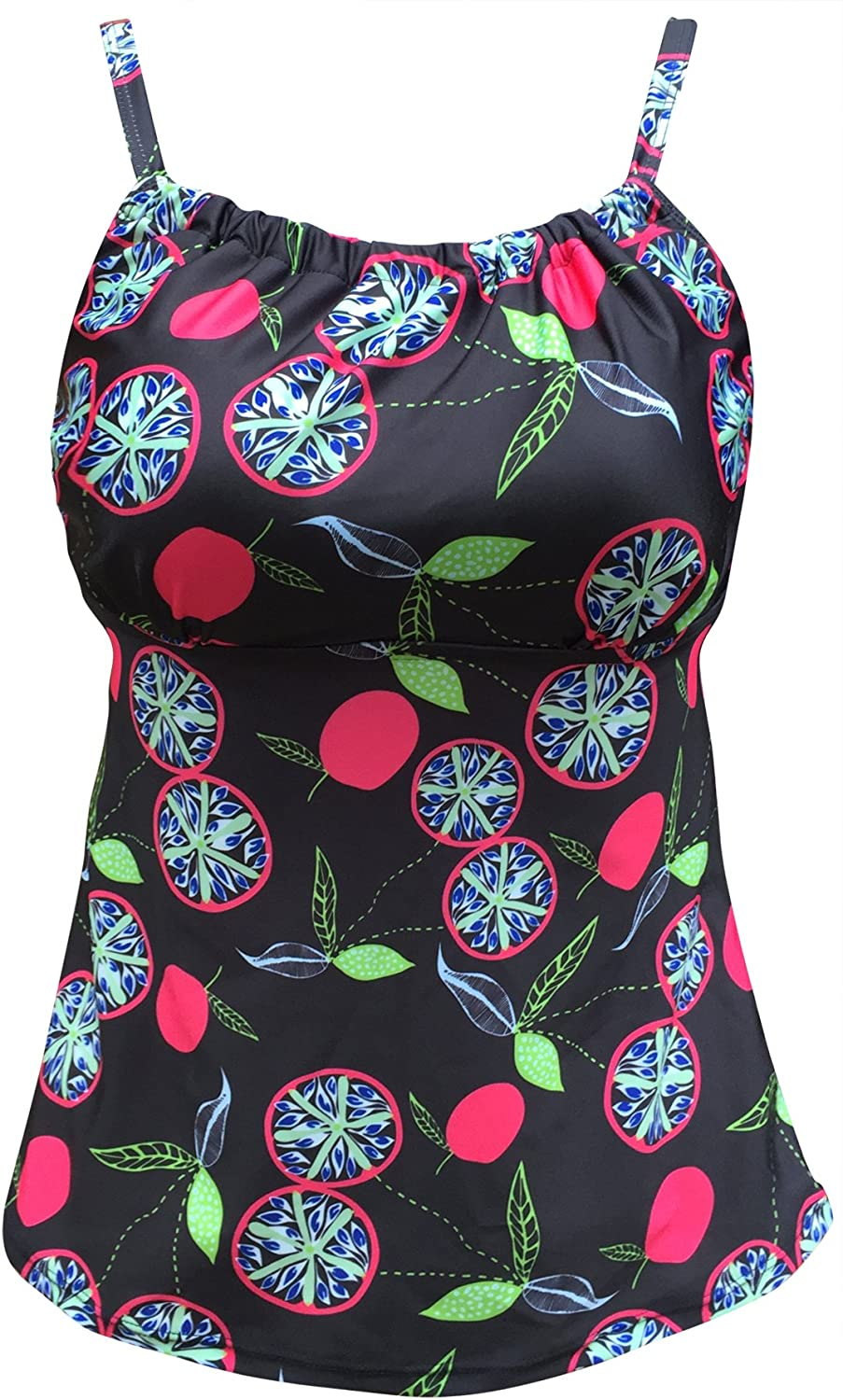 BARTONYSHOP Women's Vintage Floral Swim Top Retro Ruched Modest Adjustable Tankini(FBA)