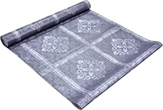Clasiko 10 Metre Wardrobe, Kitchen Drawer & Shelf Mat; Silver Motifs On Grey