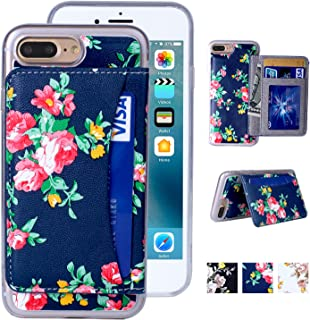 iPhone 8 Plus Wallet Case,MISSCASE iPhone 7 Plus Wallet Case, Premium PU Leather Flower Floral Back Folio Flip Magnetic Holster Phone Case for iPhone 7/8 Plus (5.5'') with stand, Card Slots- Blue&Red