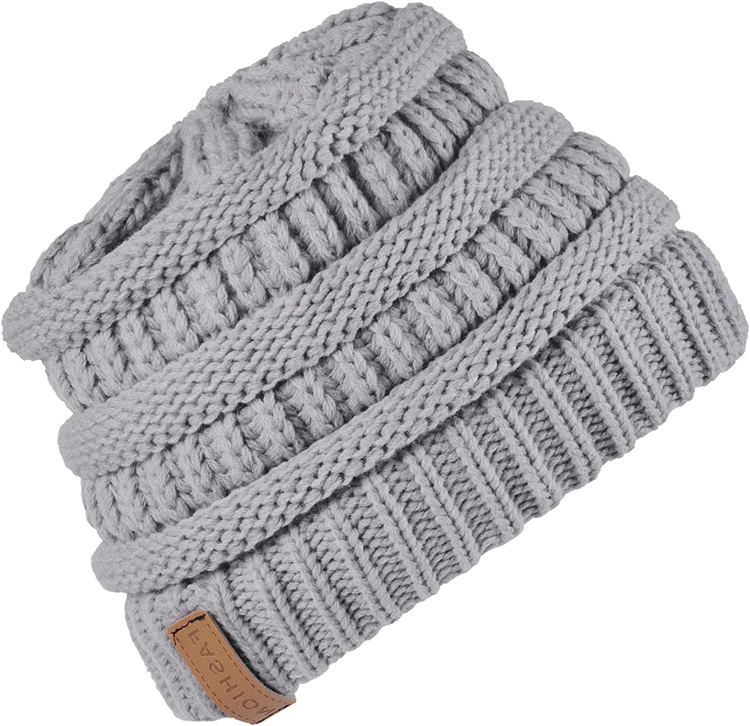 DESTTY Unisex Winter Warm Slouchy Knitted Beanie Hats Soft Stretch Chunky Skull Cap for Women & Men
