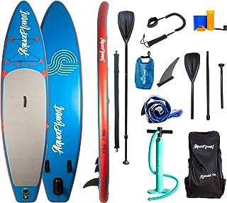 Aquaplanet 10 英尺 6 英寸 x 15 厘米单面站立桨板 - 包括:SUP,手动空气泵,带压力计,可调节铝悬浮桨,维修套件,帆布背包,卷线牵引绳和 4 Kayak 座圈配件