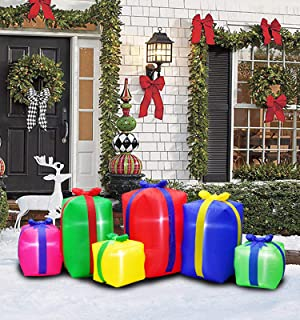 inslife 8 Ft Christmas Inflatable Gift Box Decoration for Home Yard Lawn Outdoor Indoor Night