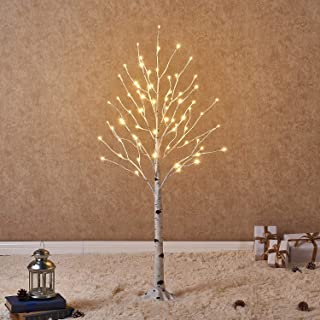Hairui Prelit White Birch Tree with LED Lights 4FT 72L for Christmas Holiday Thanksgiving..