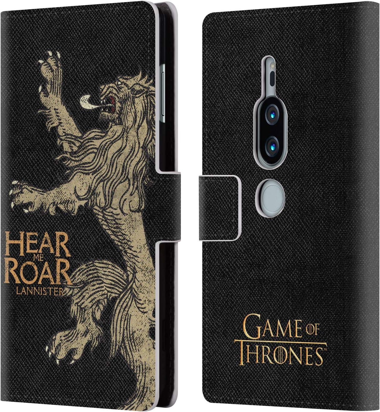 Head Case Designs Licenciado Oficialmente HBO Game of Thrones Lannister Lemas de La Casa Carcasa de Cuero Tipo Libro Compatible con Sony Xperia XZ2 Premium