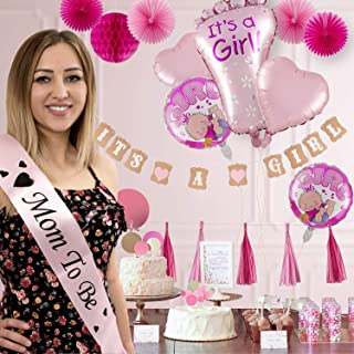 Baby Shower Decorations for Girl, Its a Girl All in One Set Party Garland Supplies Kit for Birthday, BabyShower & Party Favors, Incl Banners, Balloons, Paper Fans, Tassels, Greeting Cards, 31 PCS